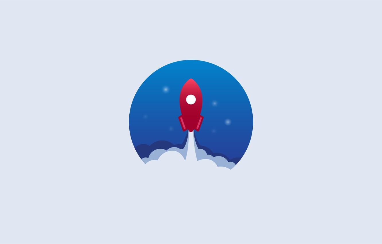 Фото обои космос, звезды, минимализм, ракета, space