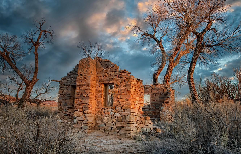 Фото обои United States, Utah, abandoned house, Cottonwood Trees, Hanksville