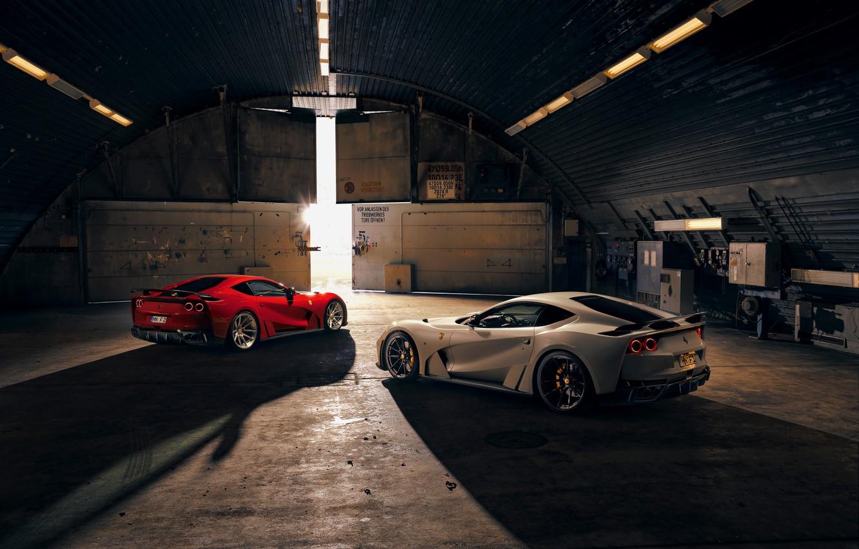 Фото обои свет, машины, ангар, Ferrari, спорткар, Superfast, 812, Novitec N-Largo