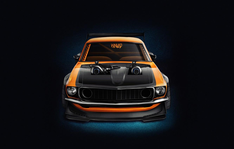 Фото обои Mustang, Ford, Авто, Машина, Оранжевый, Фон, 1969, Car, Ford Mustang, Muscle car, Передок, Рендер, Transport …