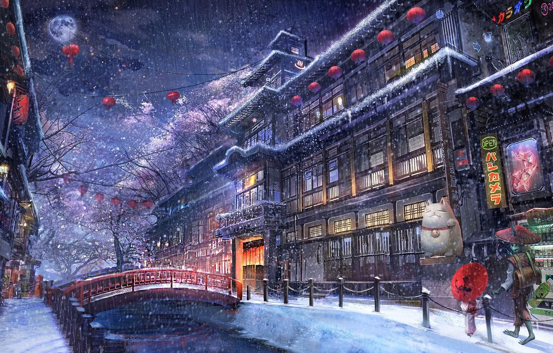 Фото обои зима, город, аниме, прогулка