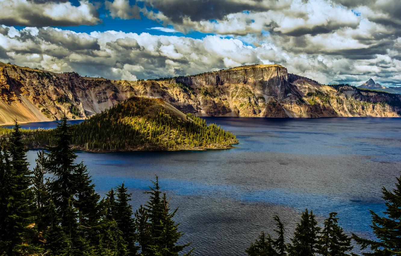 Фото обои облака, деревья, озеро, скалы, США, кратер, Oregon, Crater Lake National Park