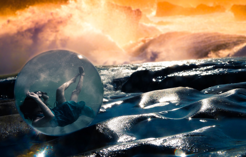 Фото обои dream, light, girl, fantasy, storm, sea, ocean, rocks, sun, pretty, mood, wind, cute, sphere, sight, …