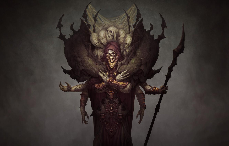 Фото обои Череп, Dark, Смерть, Фэнтези, Fantasy, Арт, Нежить, Undead, Маг, Skull, Ужасы, Темные, Волшебник, Скелет, Horror, …