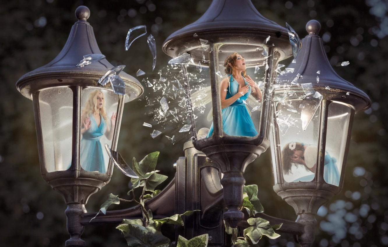 Фото обои женщины, свет, удивление, light, крик, women, заточение, fantasy art, плач, screaming, crying, уличный фонарь, surprise, …