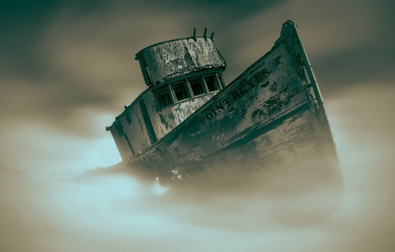 Фото обои туман, фон, корабль