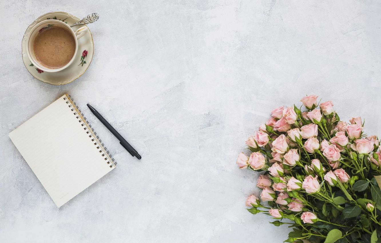 Фото обои цветы, розы, букет, розовые, pink, flowers, beautiful, romantic, coffee cup, roses, чашка кофе