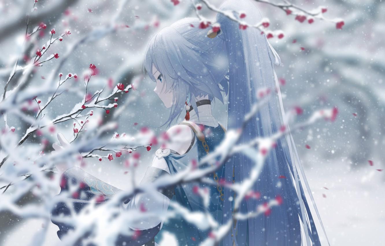 Фото обои девушка, снег, цветы, ветки, Honkai Impact 3