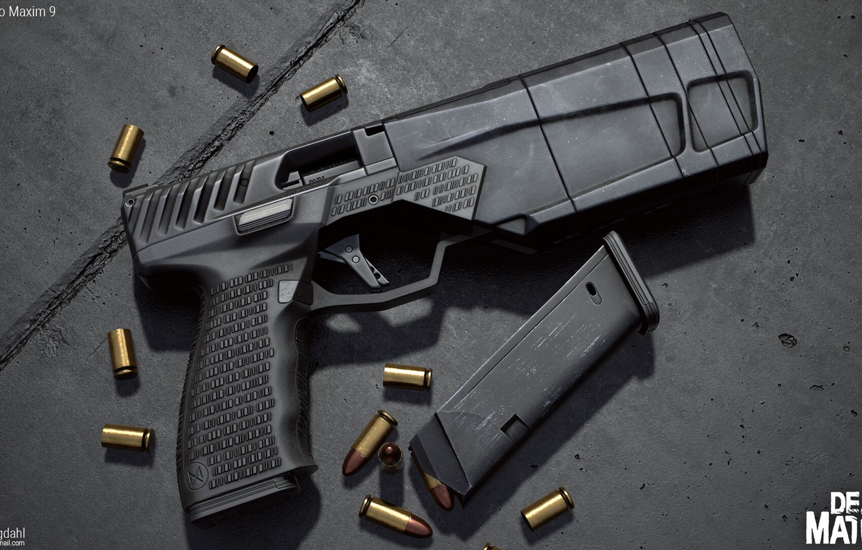 Фото обои пистолет, оружие, gun, pistol, weapon, render, рендер, 3d art, ренденринг, maxim 9, максим9, maxim9, максим …