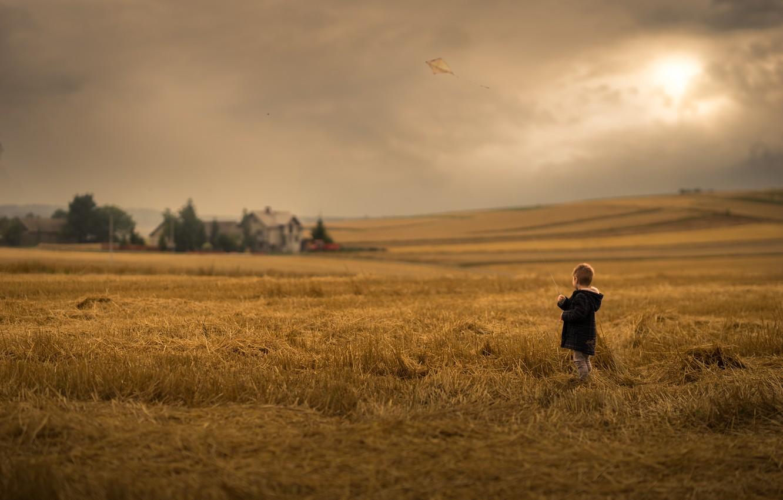 Фото обои поле, природа, ребёнок