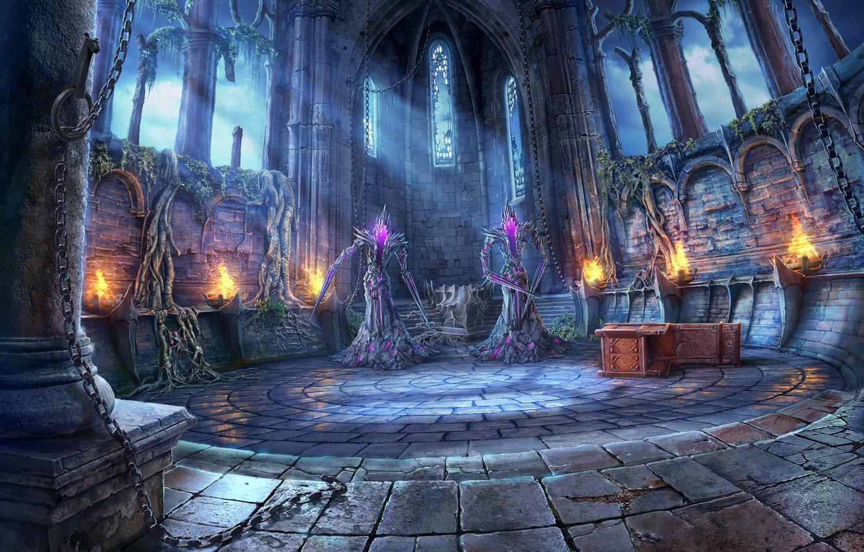 Фото обои апокалипсис, цепи, лучи света, заброшенный замок, корни деревьев, в главном зале, фантастические существа, демоны отмщения
