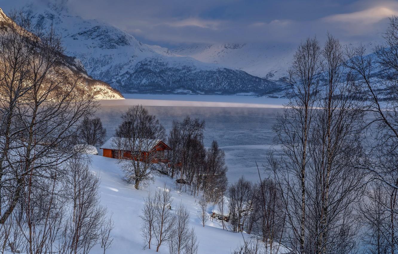 Фото обои зима, горы, озеро