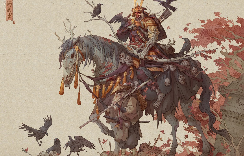 Фото обои sword, fantasy, armor, skulls, art, katana, men, death, horse, samurai, weapons, artwork, warrior, drawing, creature, …