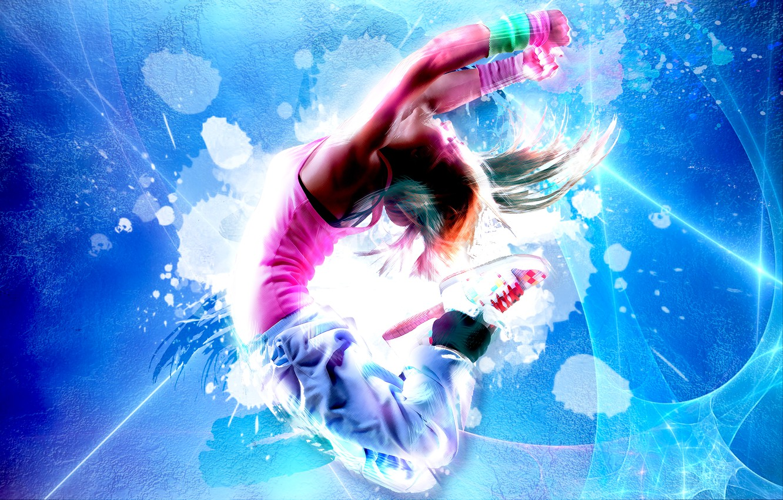 Фото обои прыжок, спорт, фотошоп, танец, неон