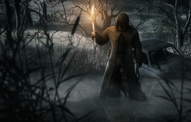 Фото обои болото, факел, Stalker, бандит, DKud, Черный сталкер