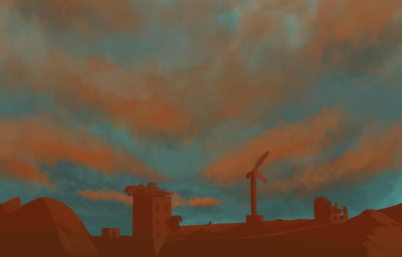 Фото обои закат, дом, рисунок, заброшеные дома