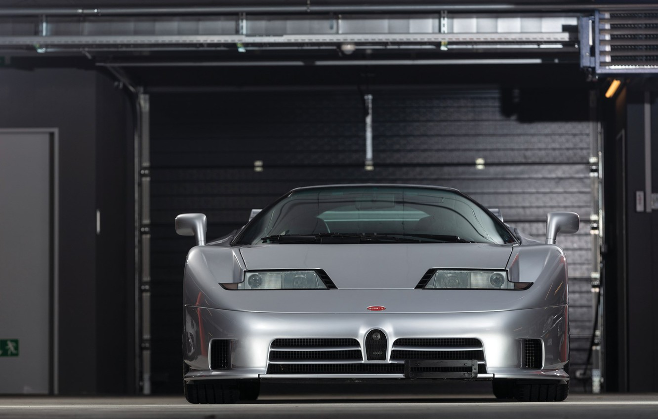 Фото обои Grey, Supercar, Garage, Bugatti EB 110
