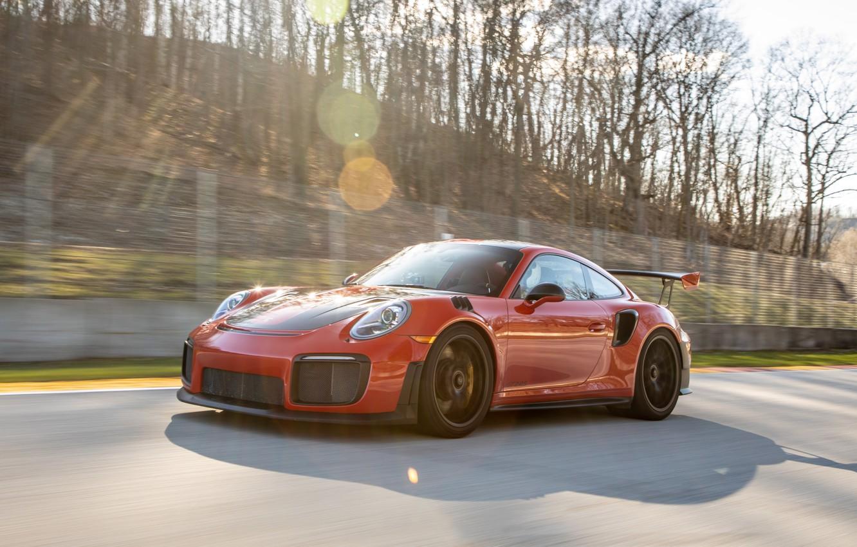 Фото обои скорость, 911, Porsche, поворот, спорткар, трек, GT2 RS, 991 type II