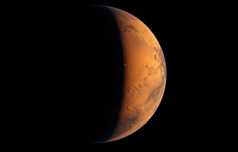 Фото обои космос, планета, марс