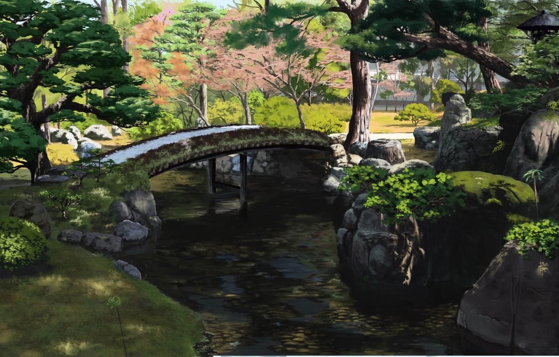 Фото обои парк, ручей, Япония, деревянный мост, зелень листьев, летний день, камни в воде, by Sasaki112