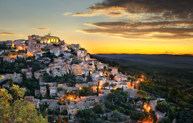 Фото обои city, lights, sky, trees, landscape, nature, sunset, France, clouds, houses, town, Provence, Gordes, Provence-Alpes-Cote d'Azur