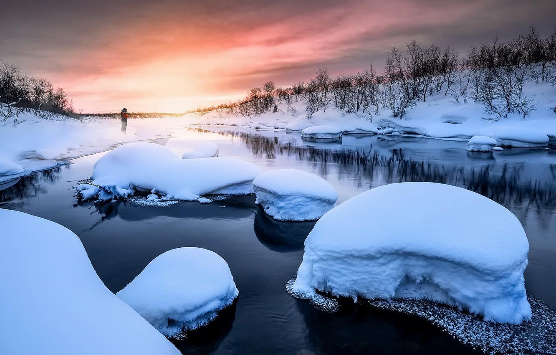 Фото обои зима, закат, река
