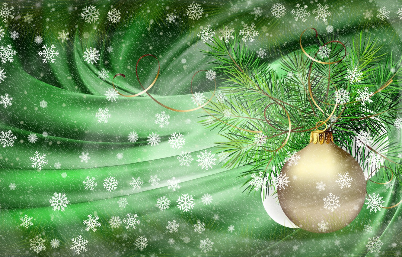 Фото обои снежинки, коллаж, Новый Год, мороз, Рождество, вьюга, серпантин, еловая ветка, заставка на рабочий стол, золотой …