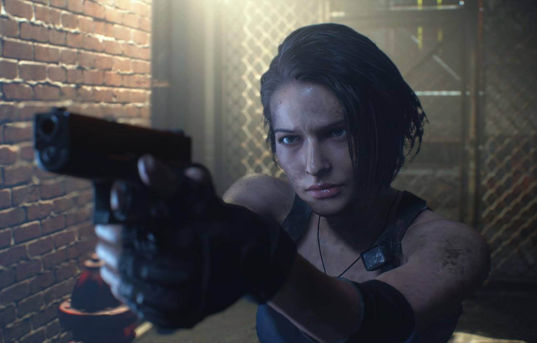 Фото обои Девушка, Пистолет, Стена, Дверь, Джилл Валентайн, Jill Valentine, Решётка, Resident Evil 3, Resident Evil 3 …