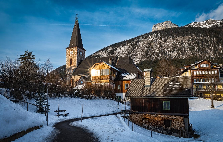 Фото обои зима, пейзаж, дома, Австрия, церковь, коммуна, Altaussee, Альтаусзее