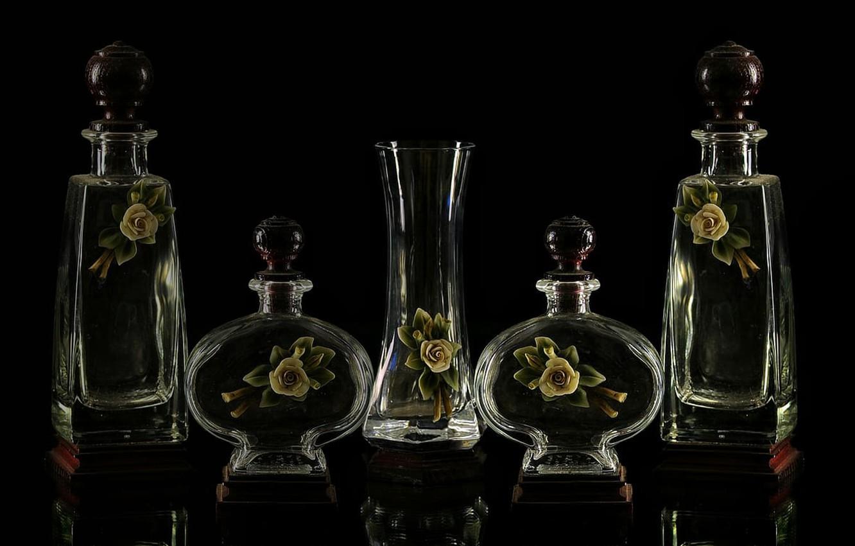 Фото обои glass, bottles, Decoration, cristal.