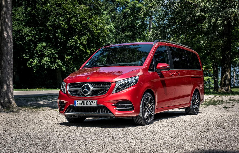 Фото обои красный, Mercedes-Benz, минивэн, 4MATIC, AMG Line, V-класс, 300 d