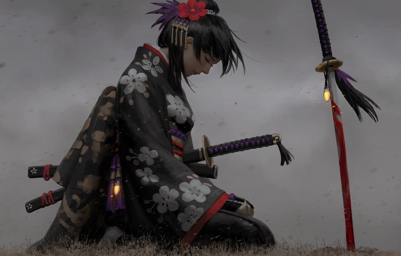 Фото обои грусть, девушка, украшения, поза, оружие, японка, арт, профиль, кимоно