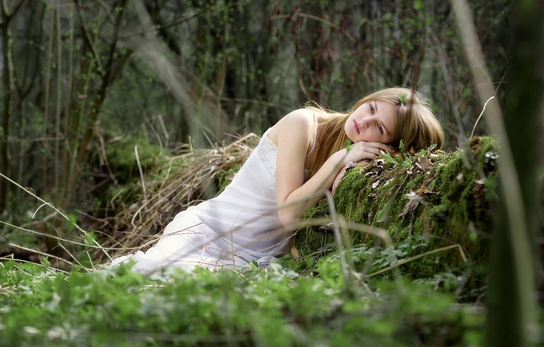 Фото обои лес, девушка, задумчивость, поза, блондинка