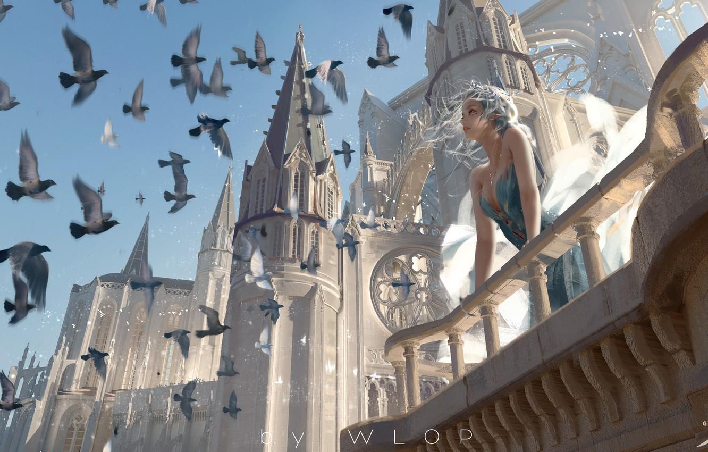 Фото обои girl, fantasy, blue eyes, birds, castle, elf, digital art, artwork, princess, fantasy art, towers, balcony, …