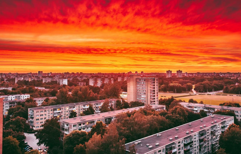 Фото обои закат, Lietuva, Kaunas
