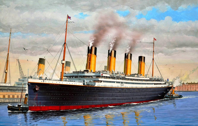 Фото обои Великобритания, класса ''Олимпик'', ''Олимпик'', Первый из серии, трёх лайнеров, Трансатлантический лайнер