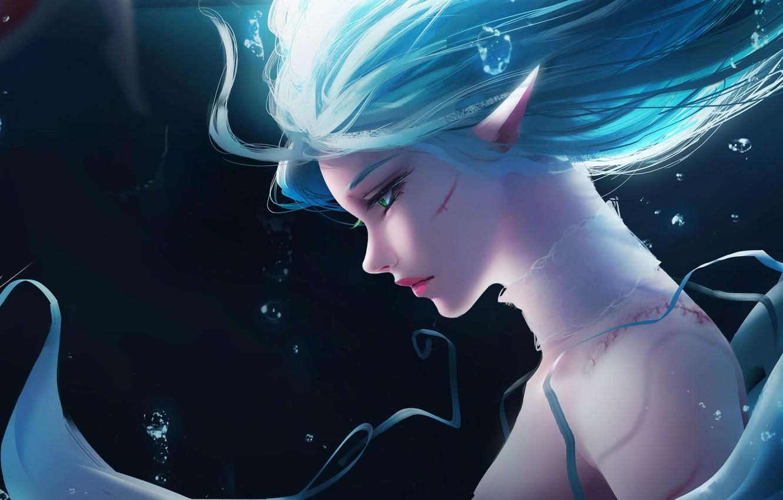 Фото обои Girl, Fantasy, Anime, Ocean, Elf