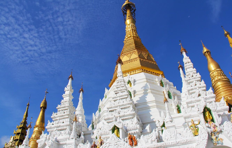 Фото обои небо, город, башни, храм, архитектура, религия, статуи, Мьянма, буддизм, Янгон