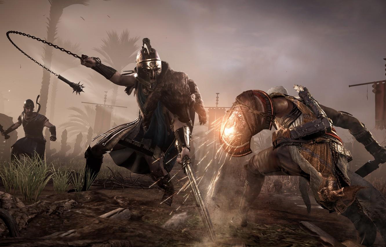 Фото обои Оружие, Битва, Fighting, Щит, Ubisoft, Game, Экипировка, Assassin's Creed Origins, Bayek, Lucius Septimius