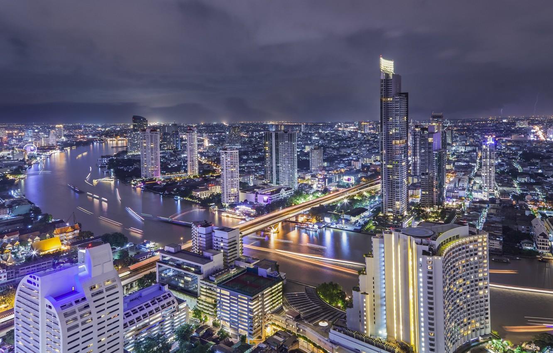 Обои улица, дома, ночь, красота, здания, Тфйланд, машины. Города foto 7