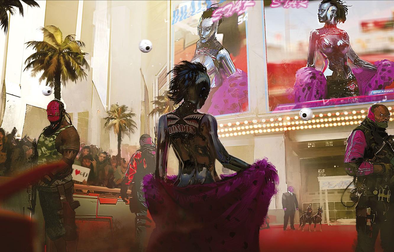 Фото обои Город, Игра, Неон, Роботы, Люди, Арт, CD Projekt RED, Cyberpunk 2077, Киберпанк, Cyberpunk, Киберпанк 2077, ...