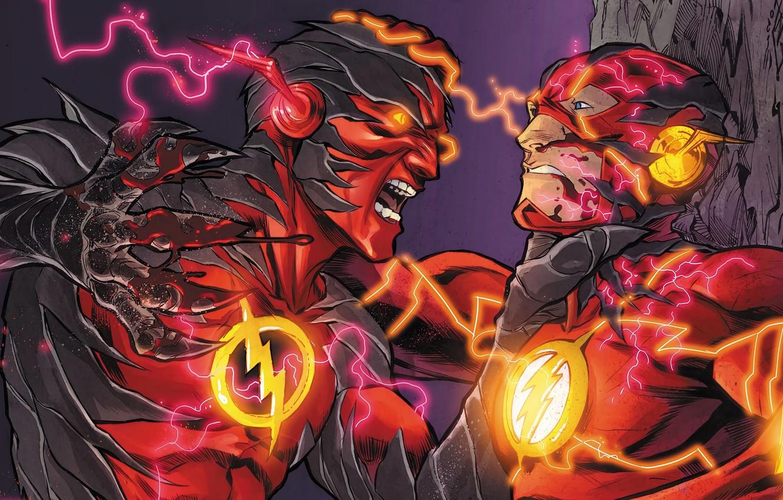 Фото обои молнии, битва, fight, flash, DC Comics, флэш, Барри Аллен, speedforce, reverse flash, обратный флэш, реверсивный …