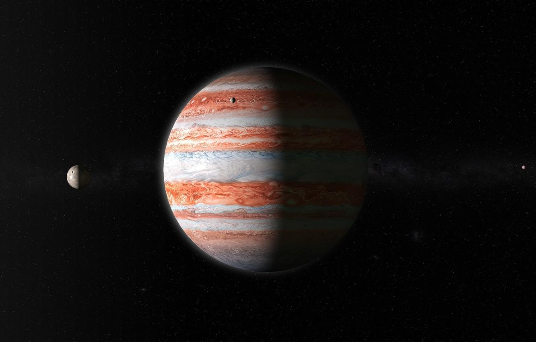 Фото обои Планета, Космос, Юпитер, Спутник, Система, Газовый гигант, by George Shaposhnikov, Gas Giant, George Shaposhnikov
