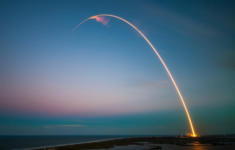 Фото обои rocket, spacex, falcon heavy