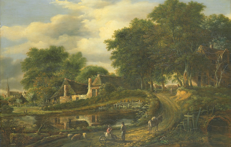 Фото обои масло, картина, Пейзаж, 1837, Julien-Joseph Ducorron, Жюльен-Жозеф Дюкоррон
