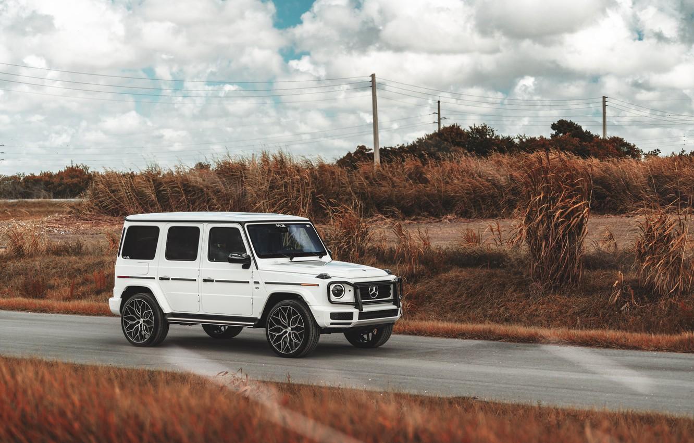 Фото обои Mercedes, White, G500, Field, G-class, W464