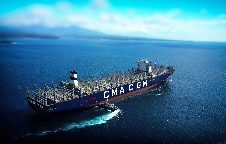 Фото обои Море, Судно, Контейнеровоз, Буксир, Пустой, Vessel, Грузовое судно, Container Ship, Tug, Балласт, M/V CMA CGM ...