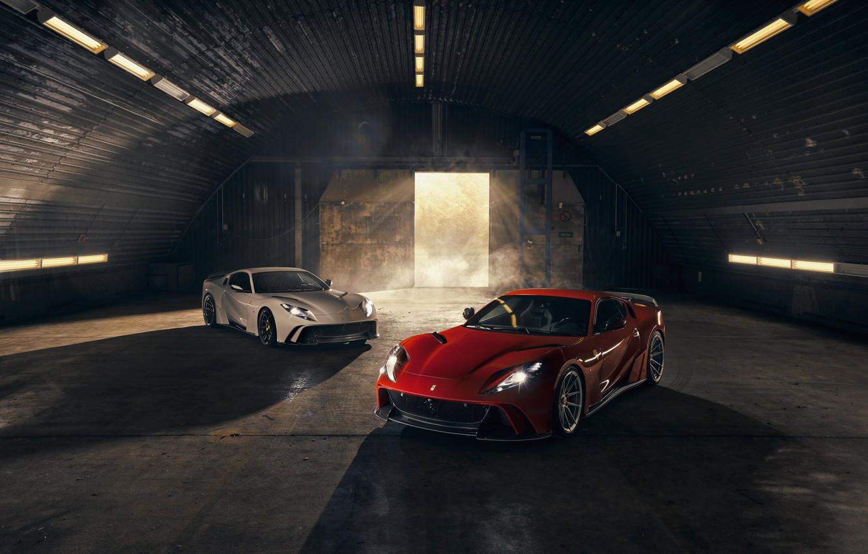 Фото обои свет, машины, фары, ворота, ангар, Ferrari, спорткар, Superfast, 812, Novitec N-Largo
