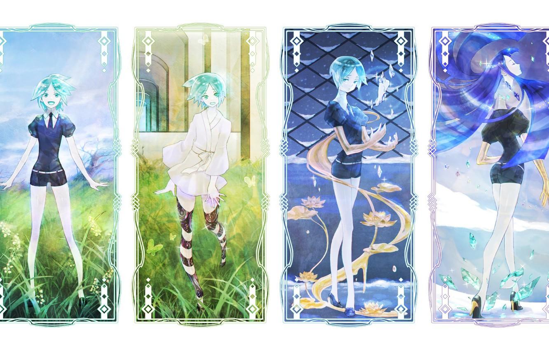 Фото обои коллаж, аниме, арт, houseki no kuni, phosphophyllite