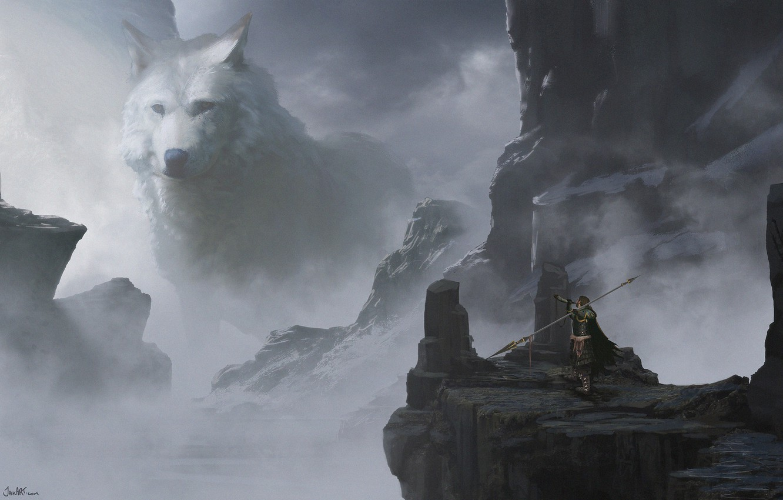 Фото обои оружие, воин, копьё, снежные горы, weapon, art, snow, warrior, белый волк, montain, white wolf, Jake …